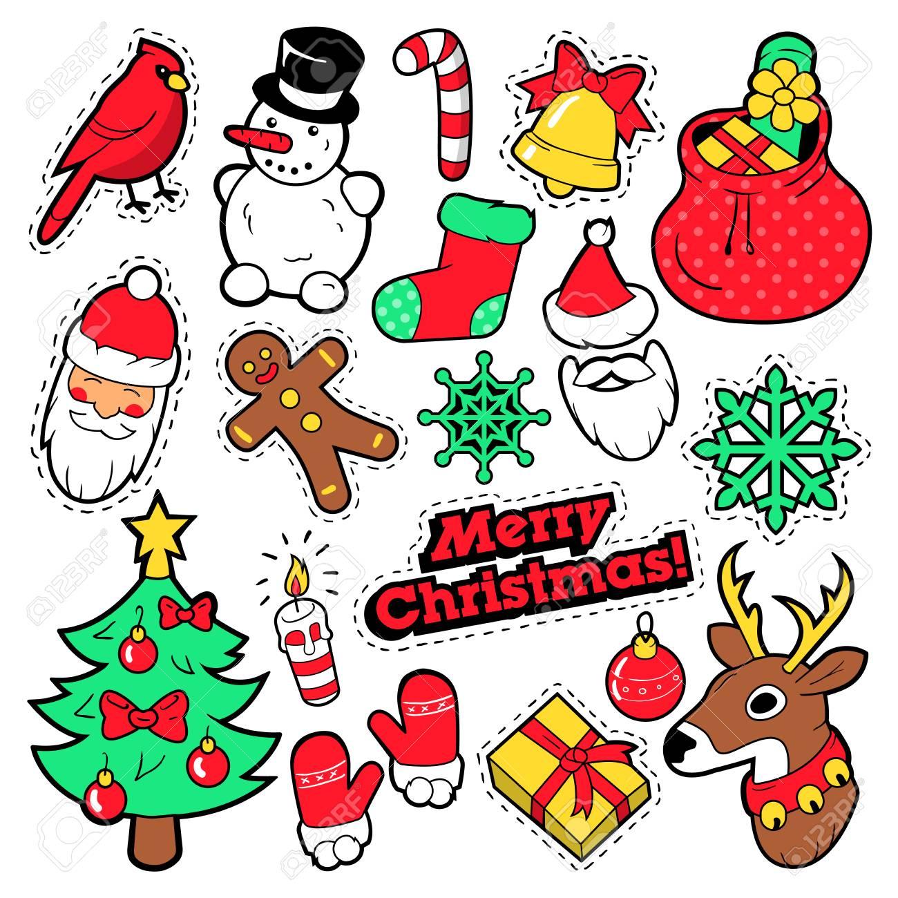 Comic Frohe Weihnachten.Stock Photo
