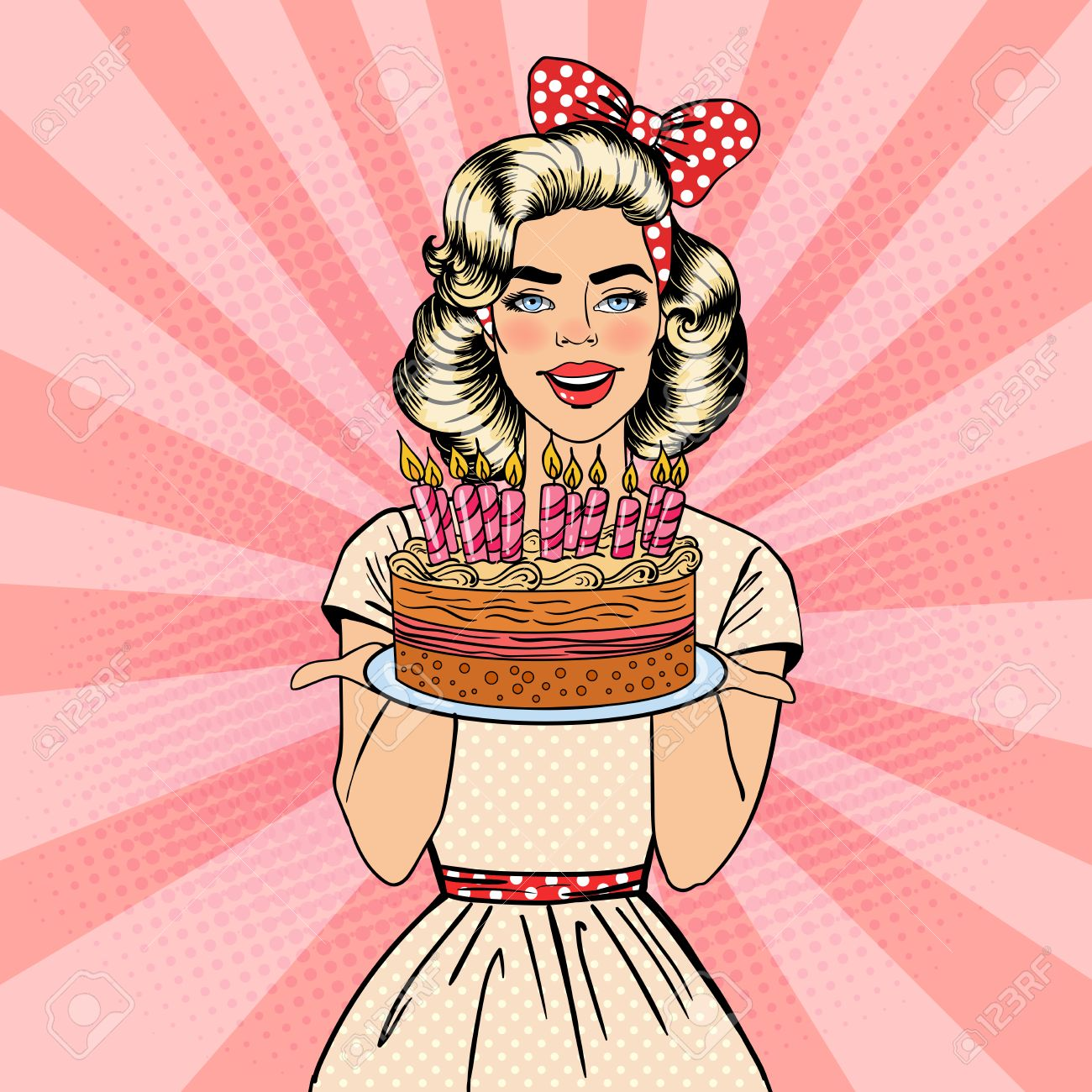 Pop Art Beautiful Woman Holding A Plate With Happy Birthday Cake Candles Vector Illustration