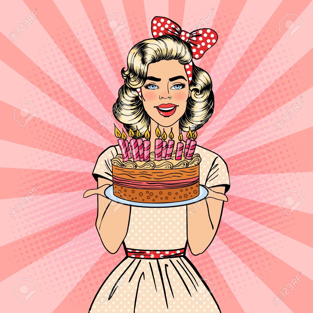 Pop Art Schone Frau Halt Einen Teller Mit Happy Birthday Cake Kerzen Vektor