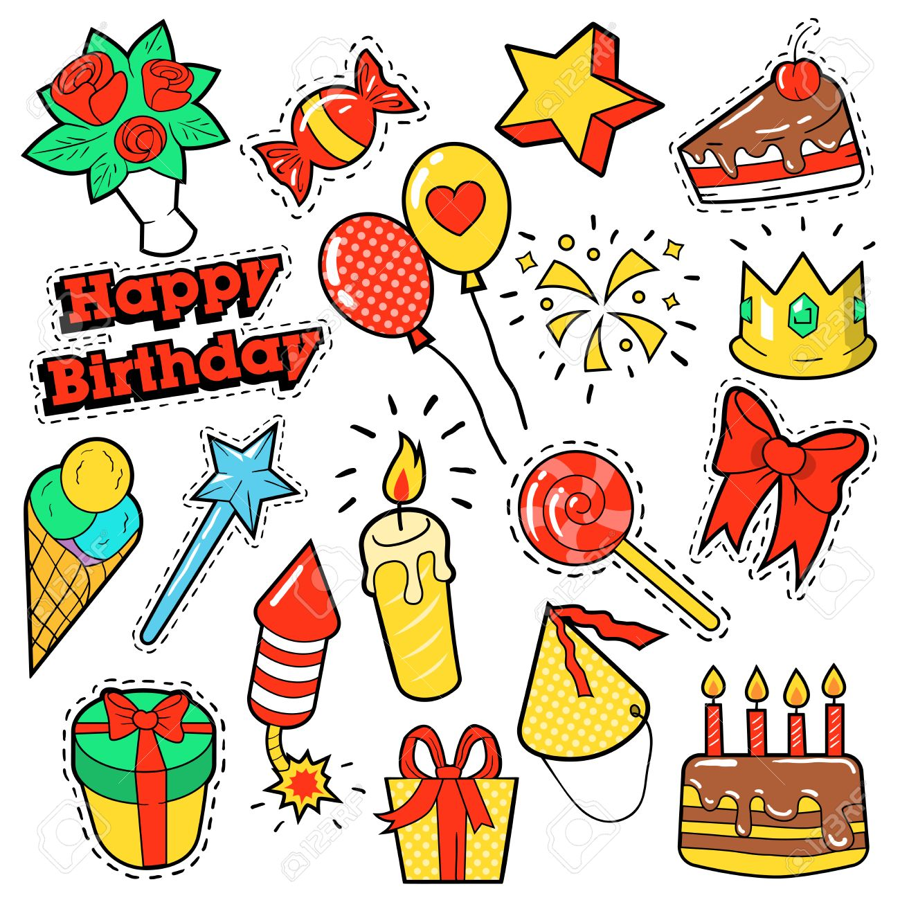 Mode Abzeichen Aufnaher Aufkleber Geburtstags Thema Alles Gute