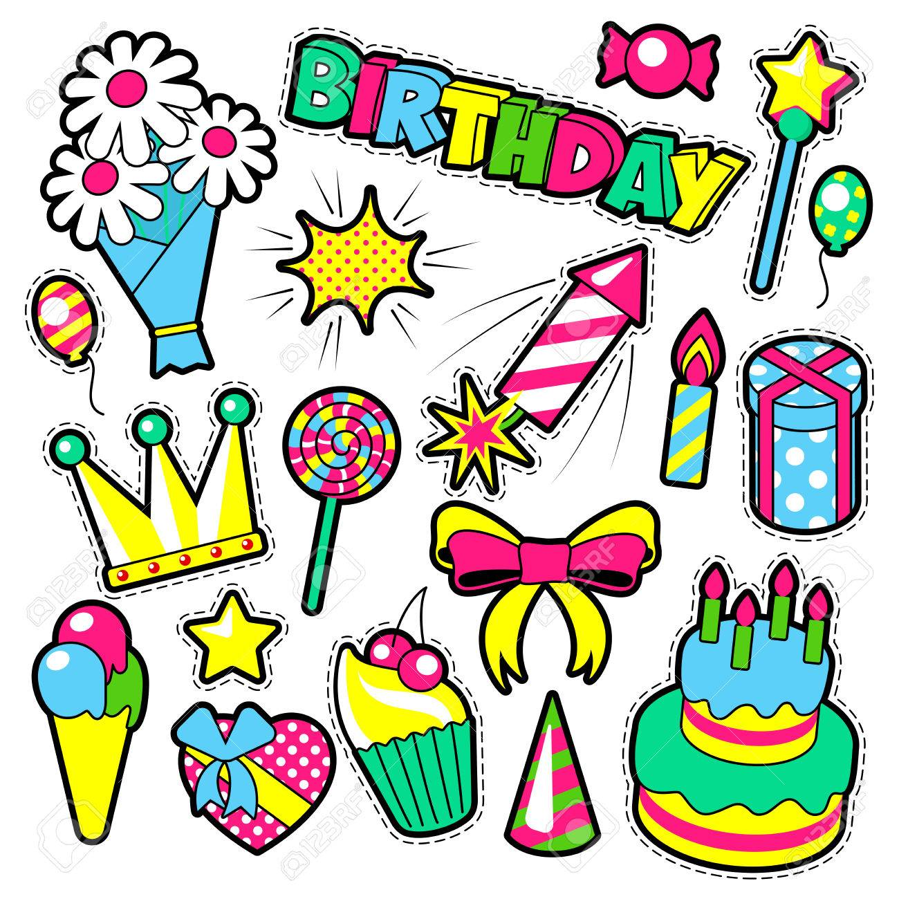 fashion badges patches stickers birthday theme happy birthday rh 123rf com Funny Happy Birthday Clip Art clip art of happy birthday fashionista