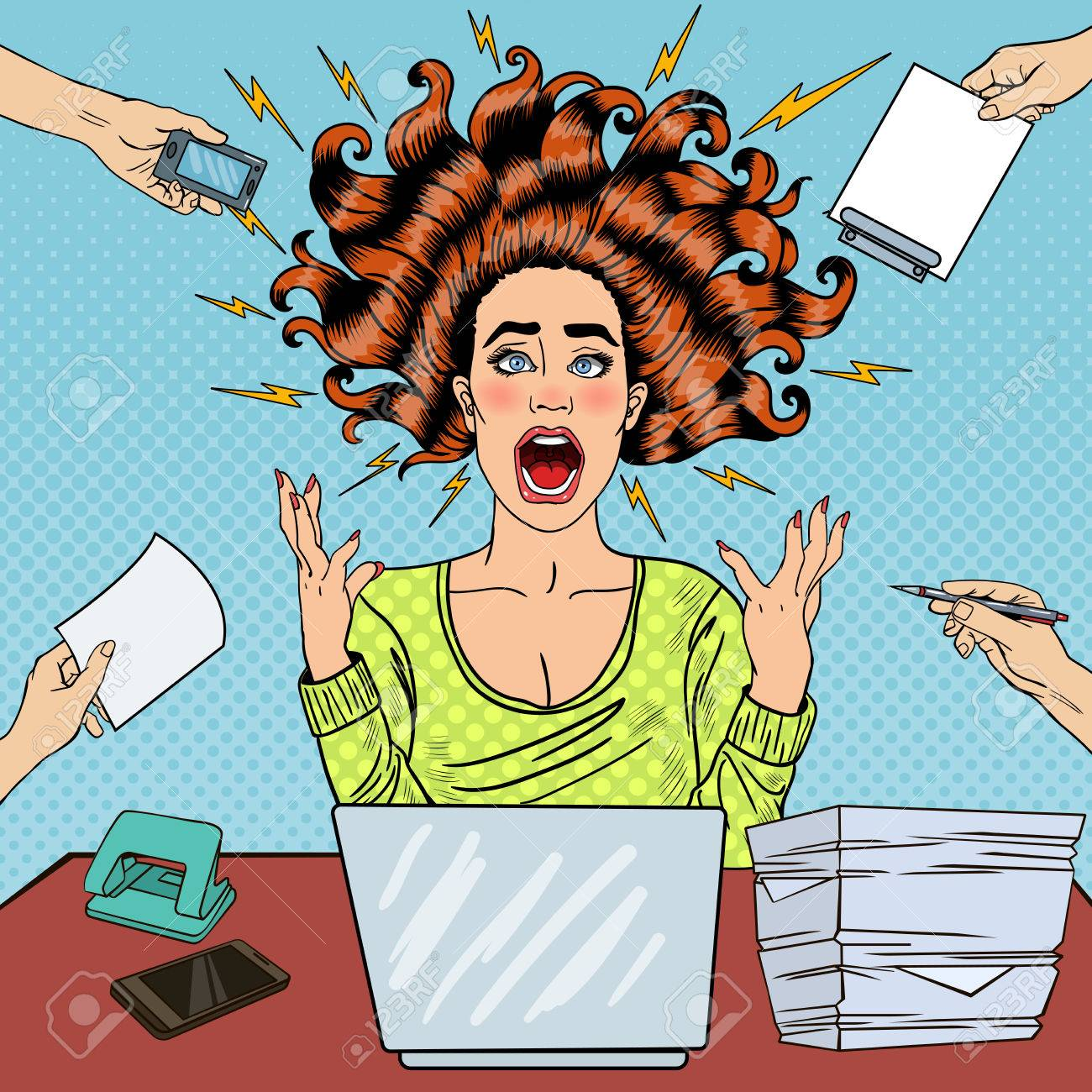 Pop Art Aggressive Furious Screaming Woman with Laptop at Office Work. Vector illustration - 64745751
