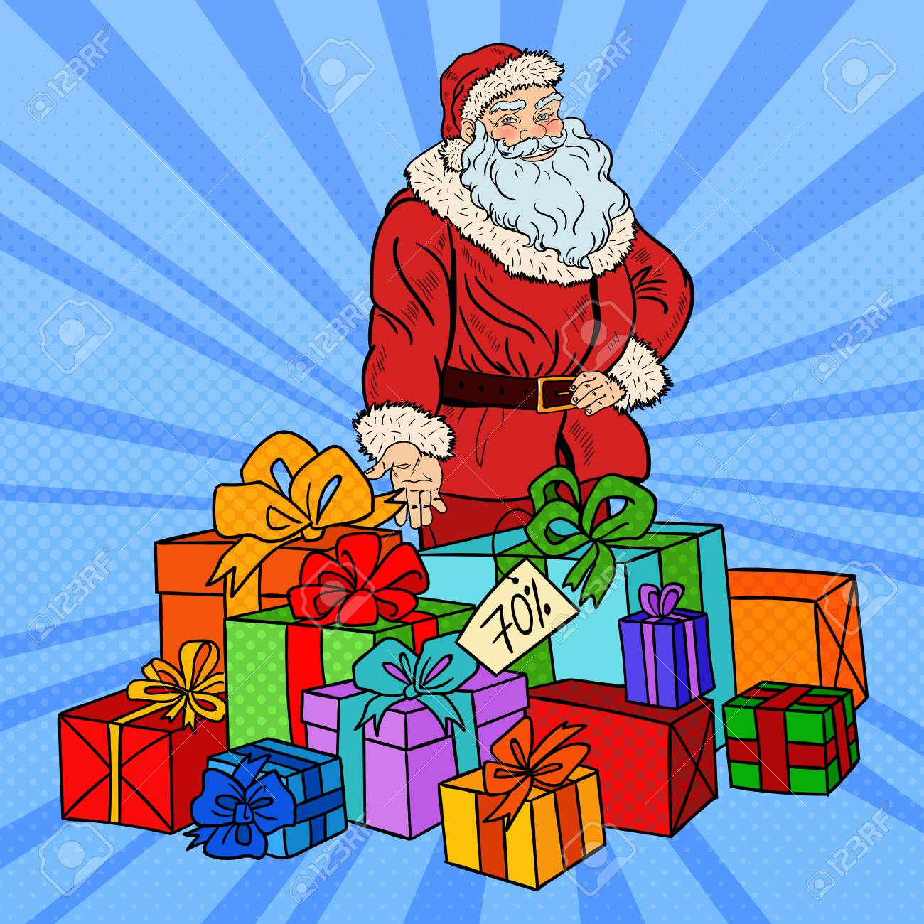 Pop Art Santa Claus With Christmas Gifts On Christmas Sale. Vector ...