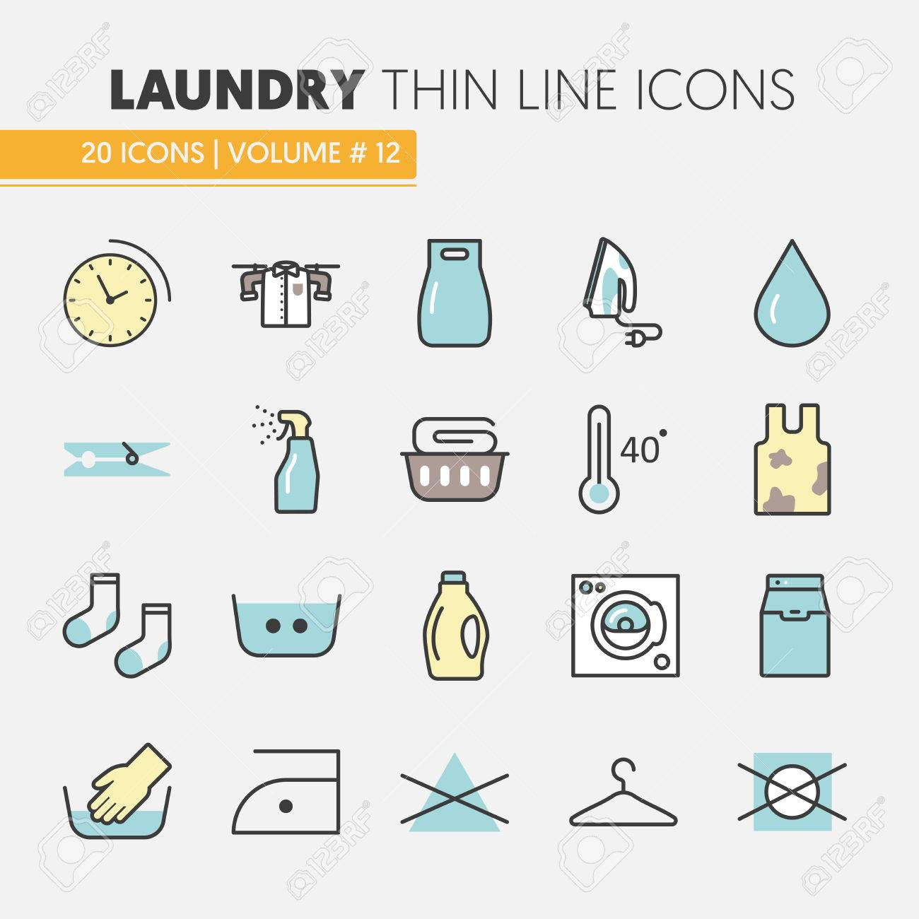 Laundry Service Thin Line Vector Icons Set with Laundrette Elements - 66573459