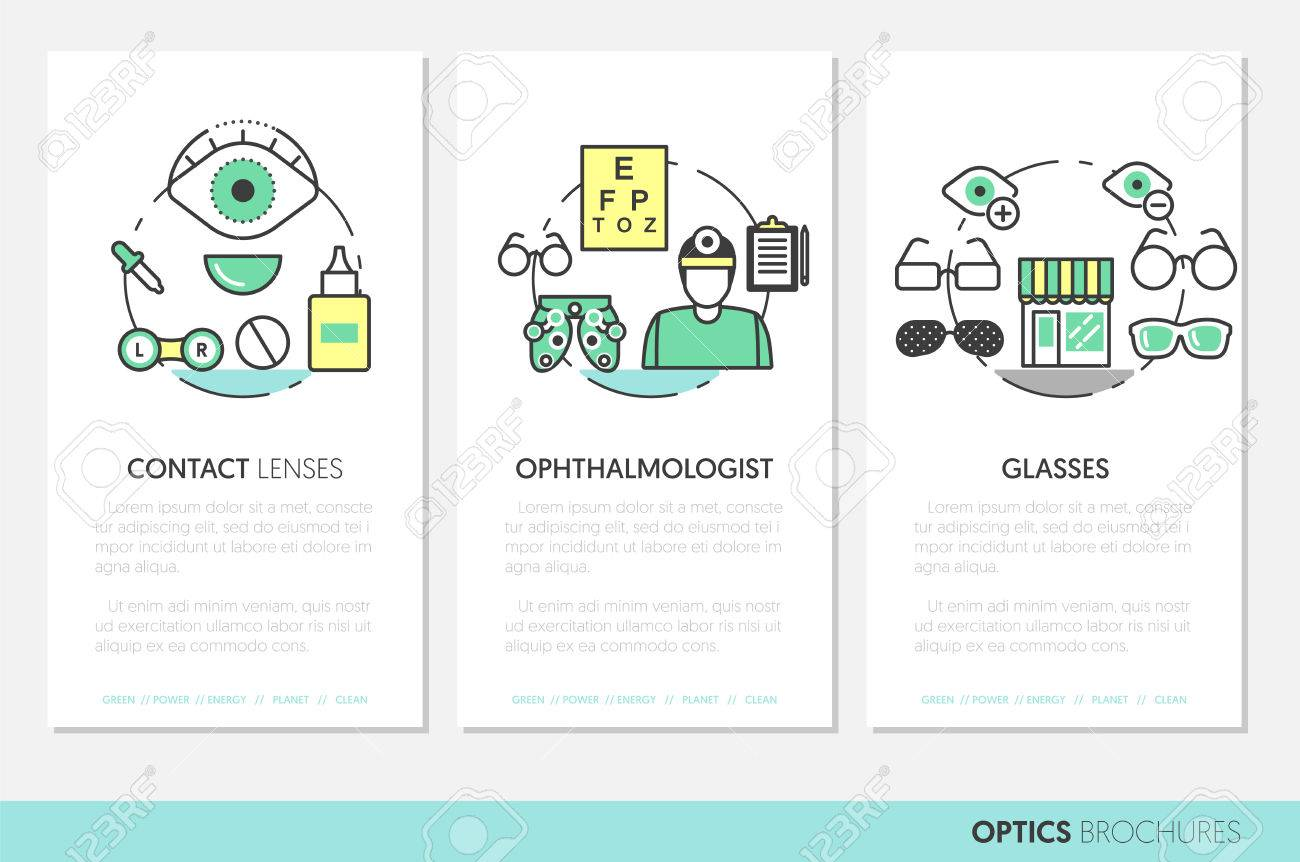 Optician Thin Line Vector Brochures And Business Cards Set With ...