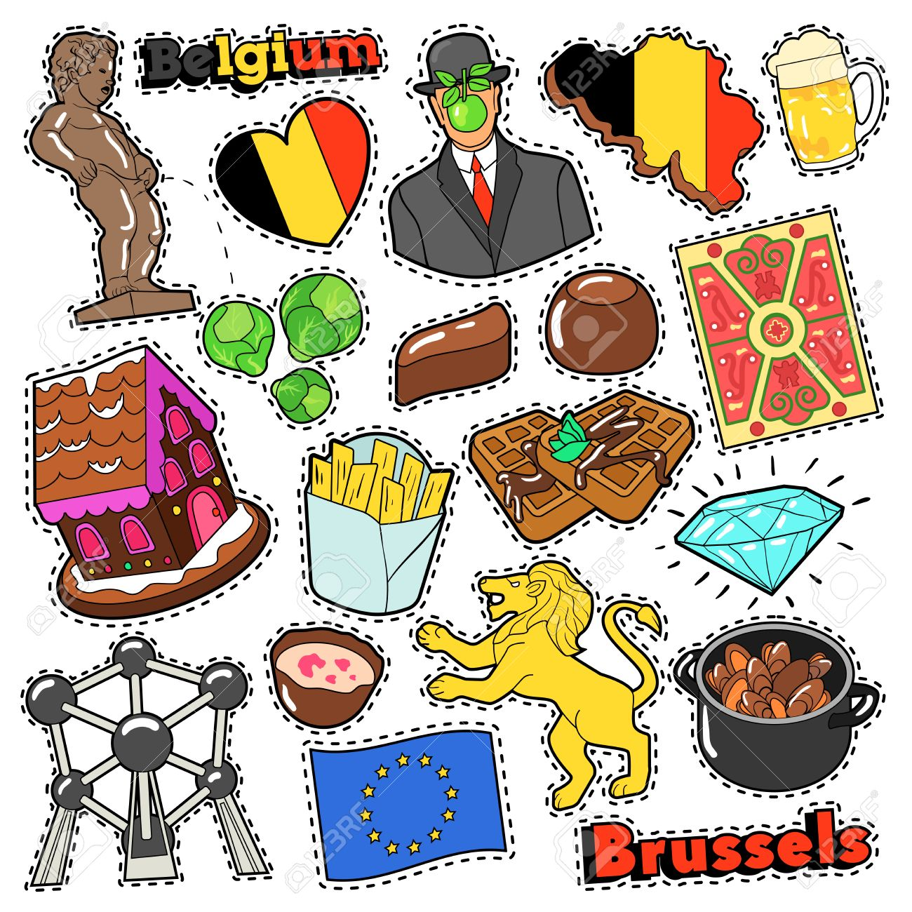 Belgium Travel Scrapbook Stickers Patches Badges For Prints