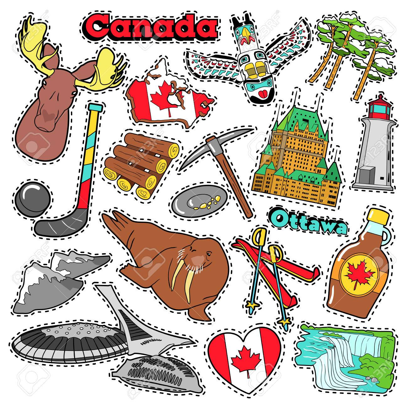 canada travel scrapbook stickers patches badges for prints with rh fr 123rf com Clip Art Black and White Niagara Falls Niagara Falls Sign