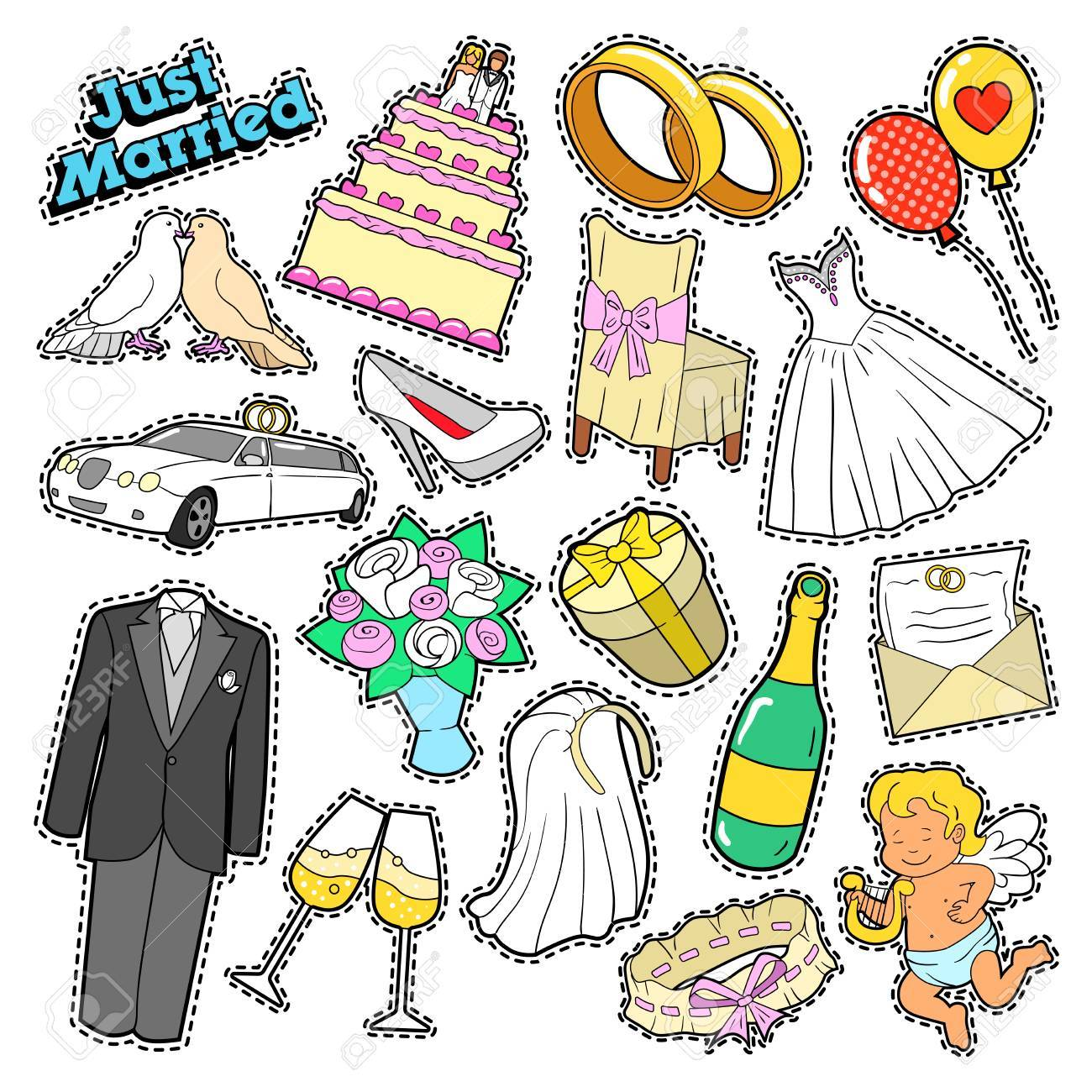 Wedding Just Married Doodle For Scrapbook Stickers Patches