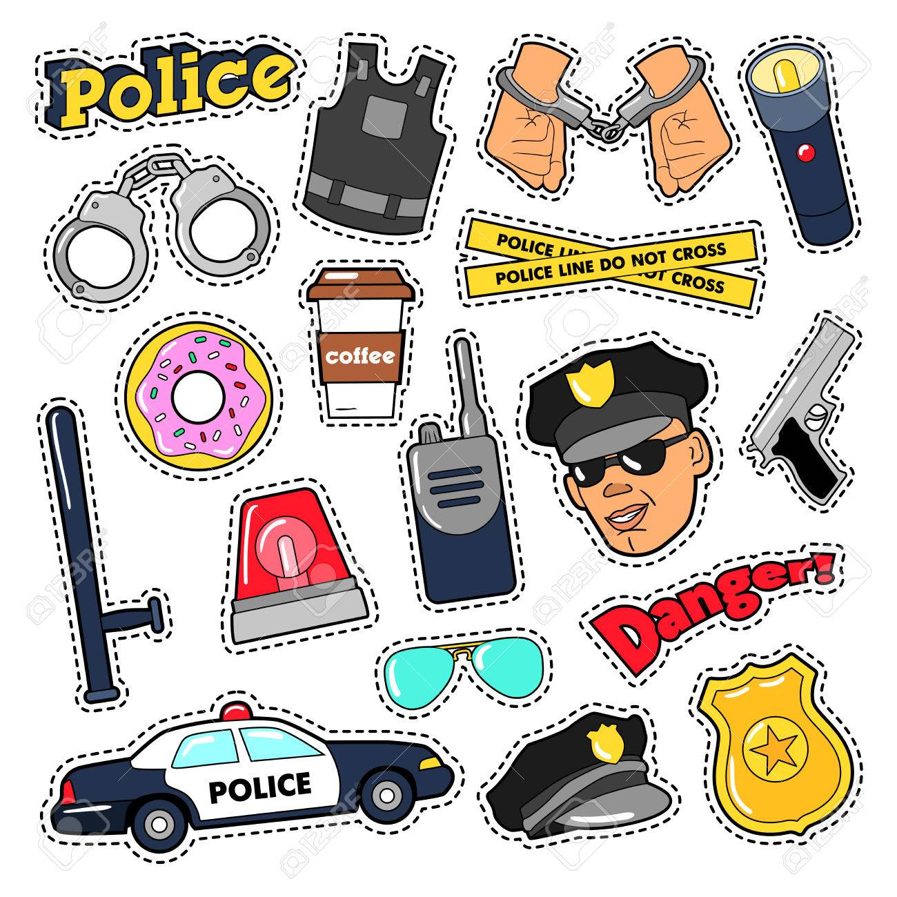 Police Security Stickers Set with Officer, Gun and Car  Vector