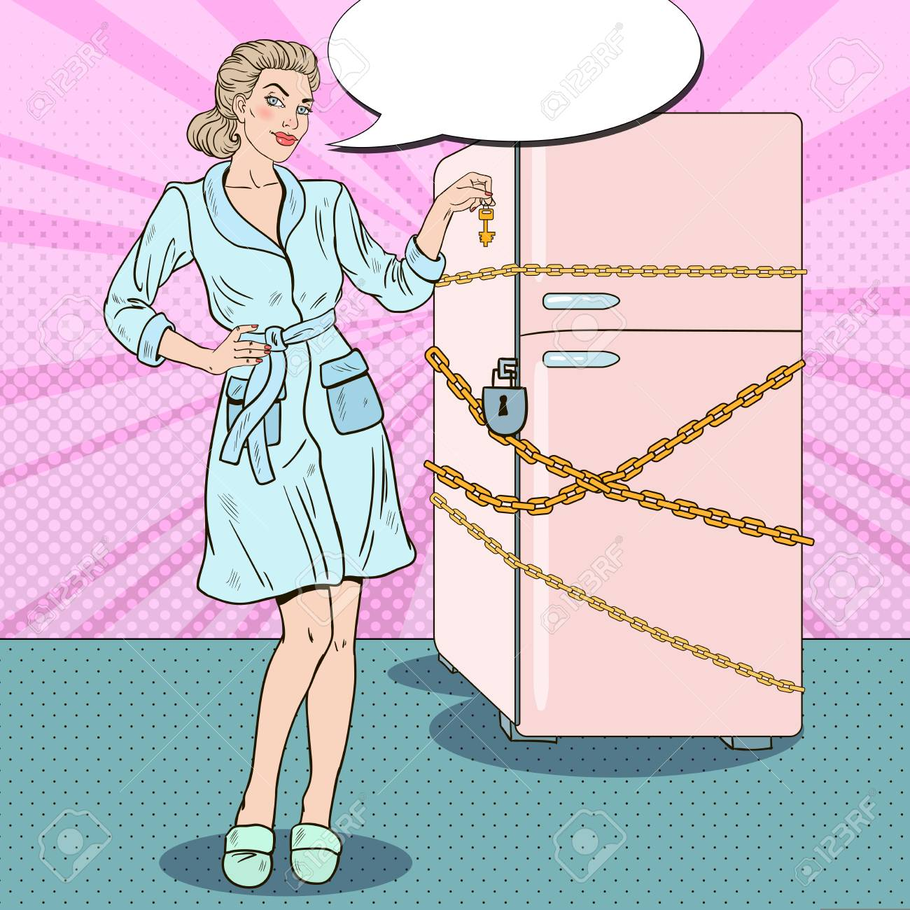 Pop Art Young Woman on Diet with Fridge Chain and Lock. Vector illustration - 72504403