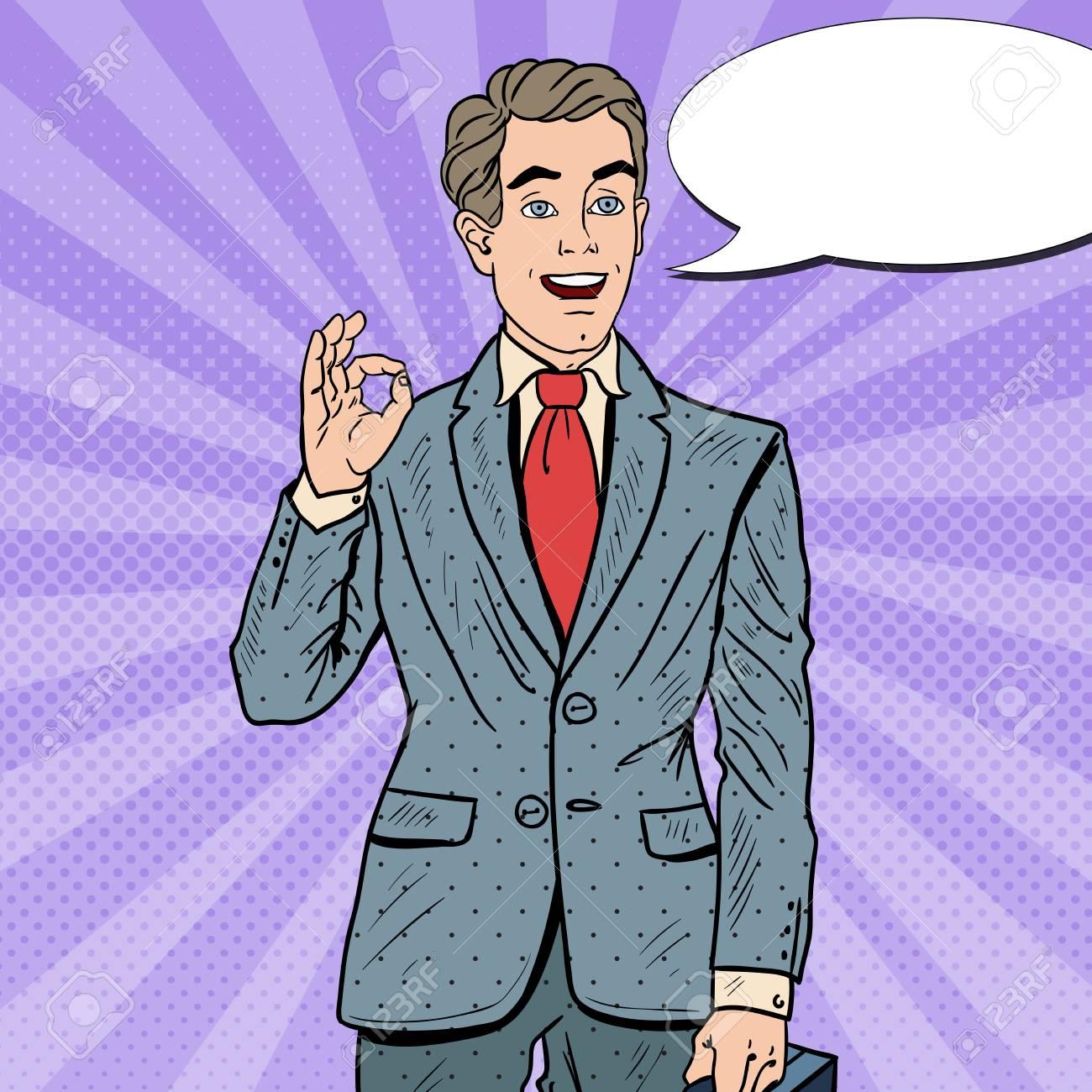 f05af22e07ae Banque d images - Pop Art homme d affaires prospère Gestes OK avec bulle de  dialogue. La réussite des entreprises. Illustration vectorielle