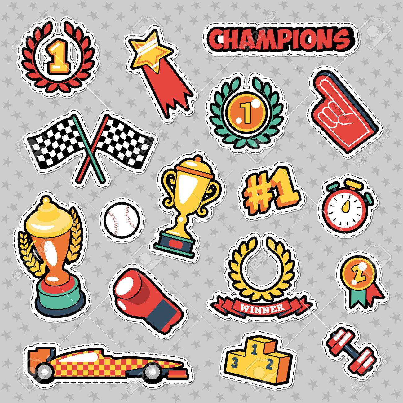 Fashion Badges, Patches, Stickers in Comic Style Champions Theme with Cups Banque d'images - 75097577
