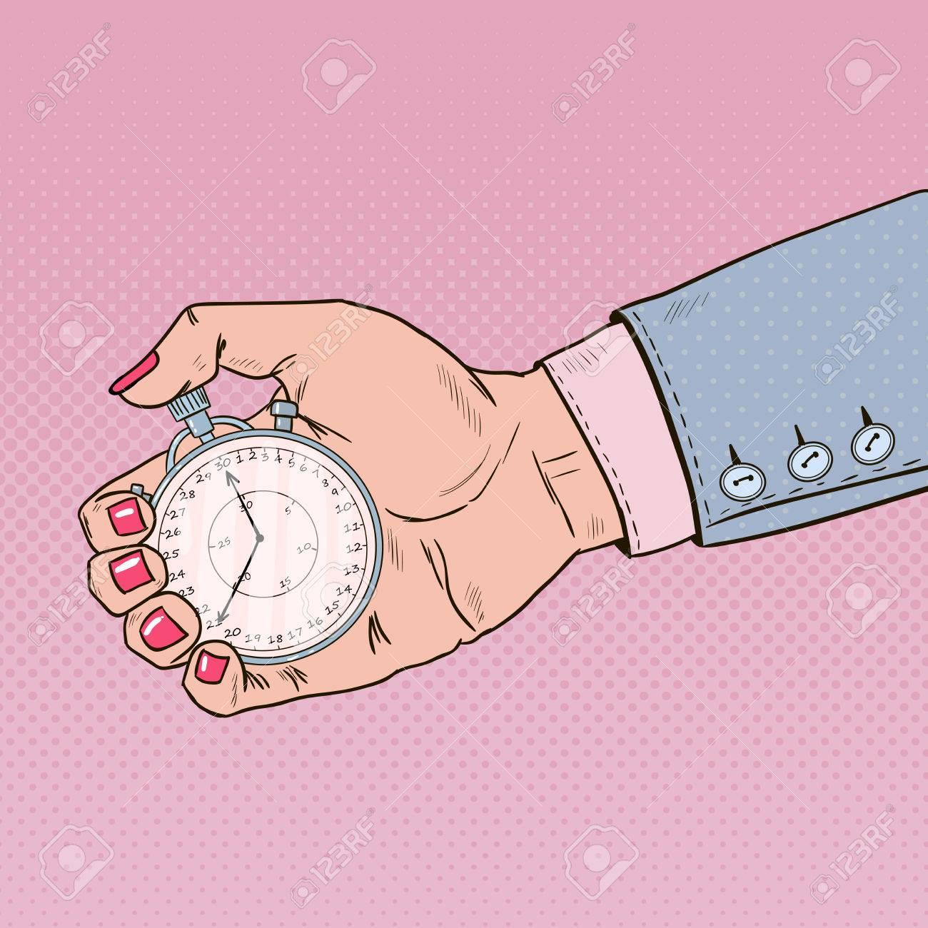 Chronomètre féminin tenant main. Gestion du temps. Pop Art Retro Illustration Banque d'images - 75100045