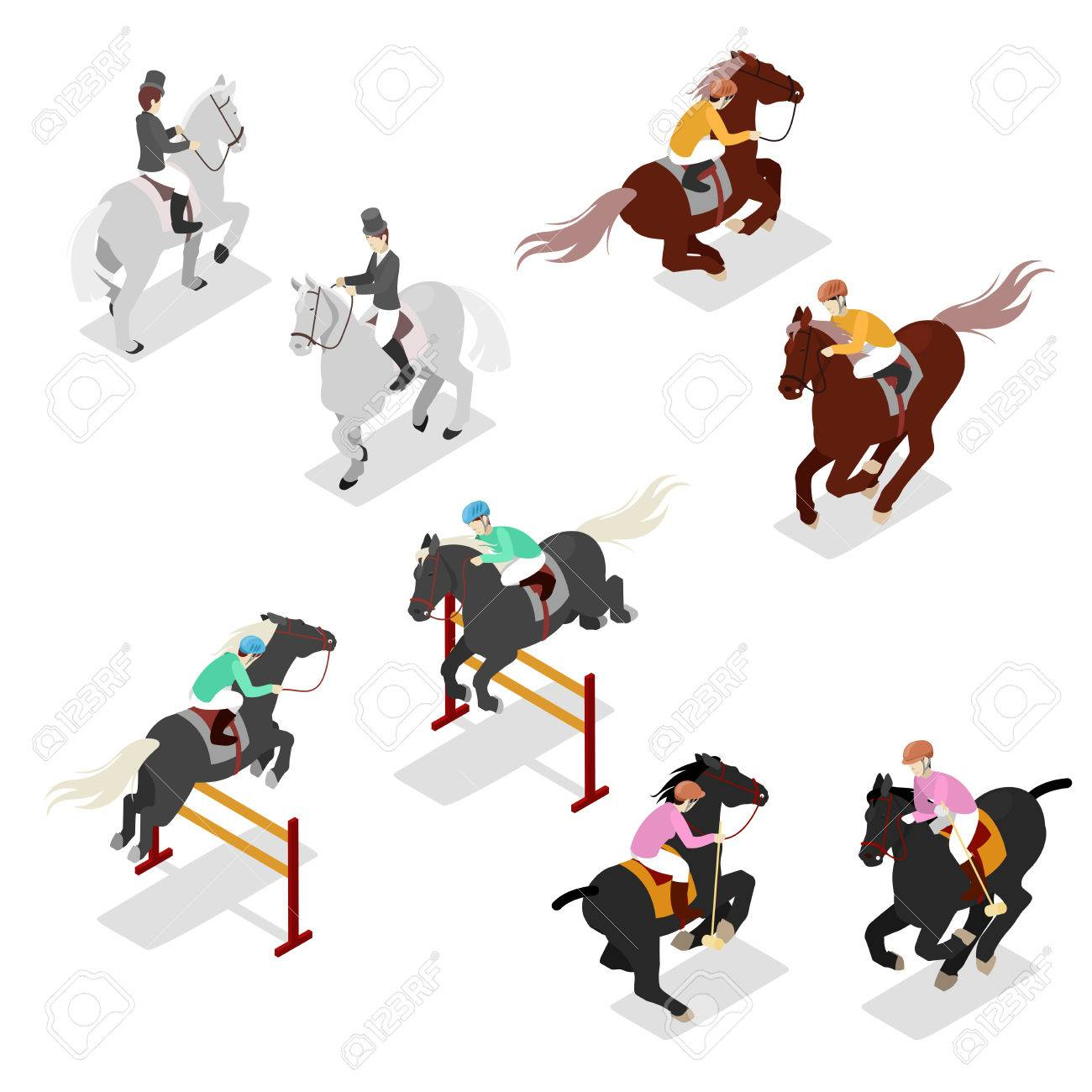 Equestrian Sports - Polo, Dressage, Contest. Man on Horse. Isometric vector flat 3d illustration - 75534375