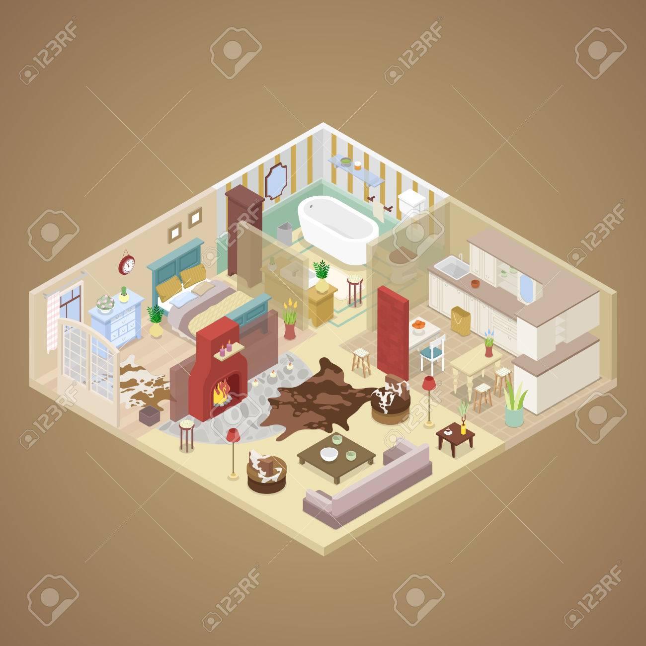 Landhaus Innenarchitektur Mit Wohnzimmer, Schlafzimmer Und Küche.  Isometrische Vektor Flache 3D Darstellung