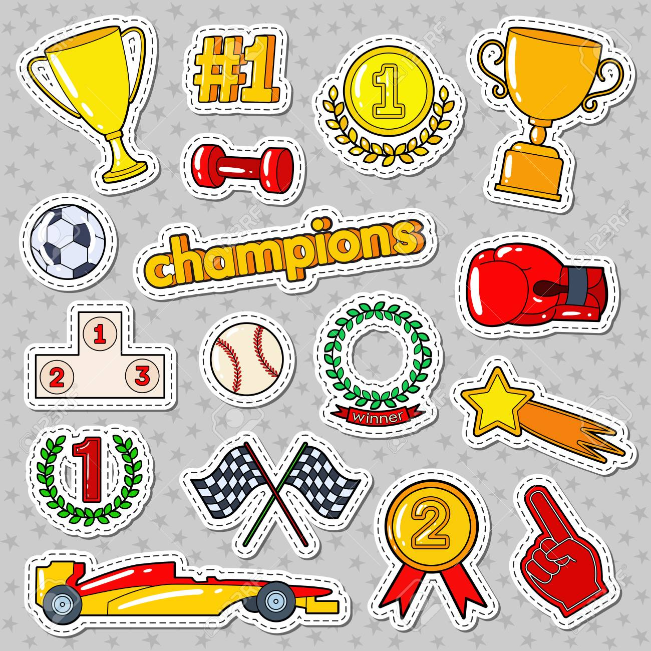 Champions doodle with medals prize and podium sports stickers badges and patches