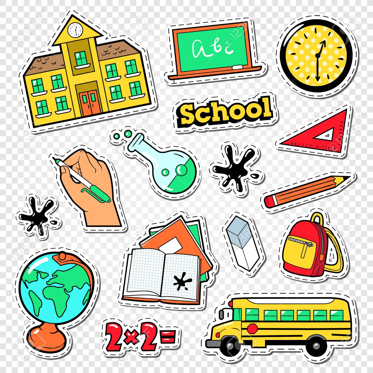 Educational stickers patches and badges with mathematics backpak and