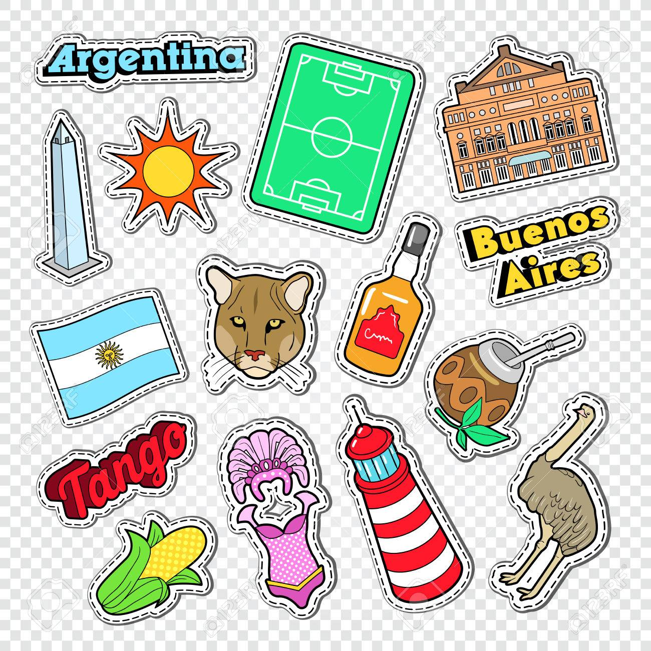Travel to argentina doodle argentinian stickers badges and patches with animals and architecture