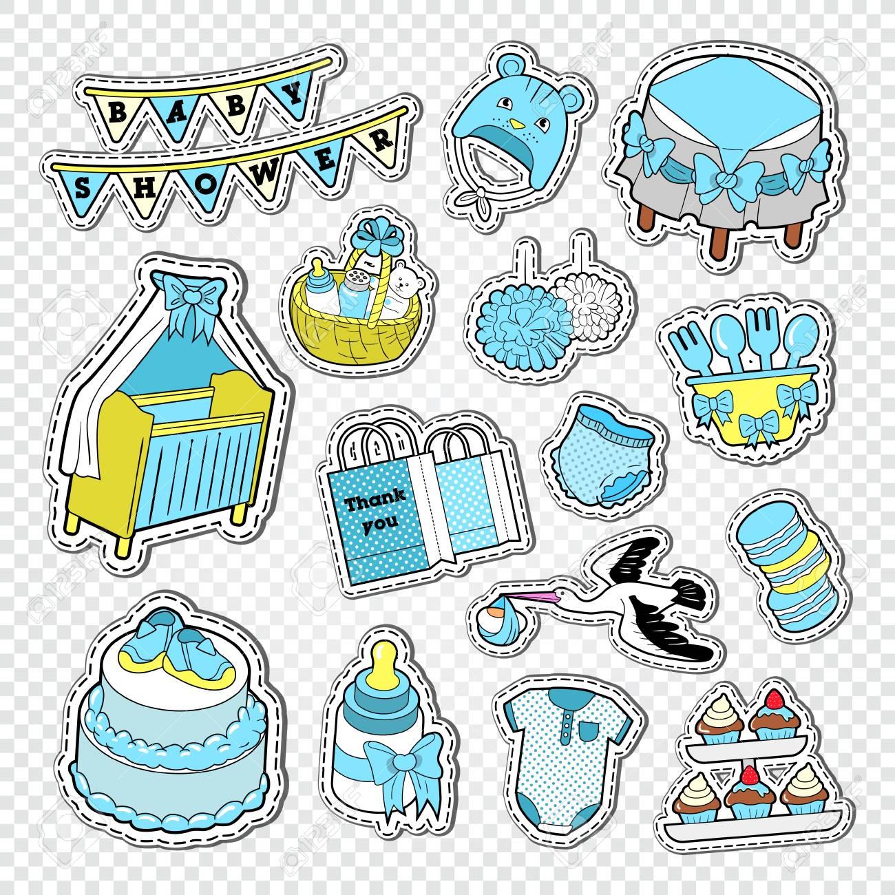 Baby Shower Boy Decoracion.Baby Shower Boy Decoration Elements Child Birth Decoration Stickers