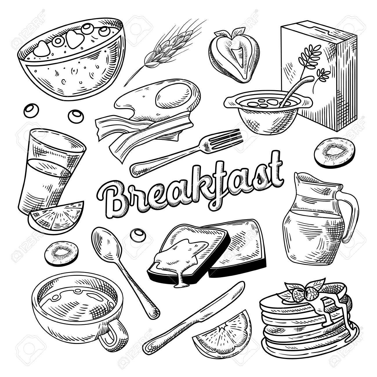 Healthy Breakfast Hand Drawn Doodle - 86537641