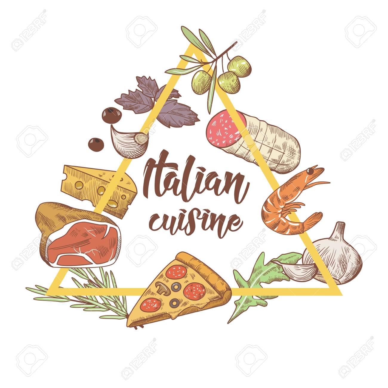 Italienische Küche Sketch Doodle. Essen Menü Design-Vorlage. Hand ...