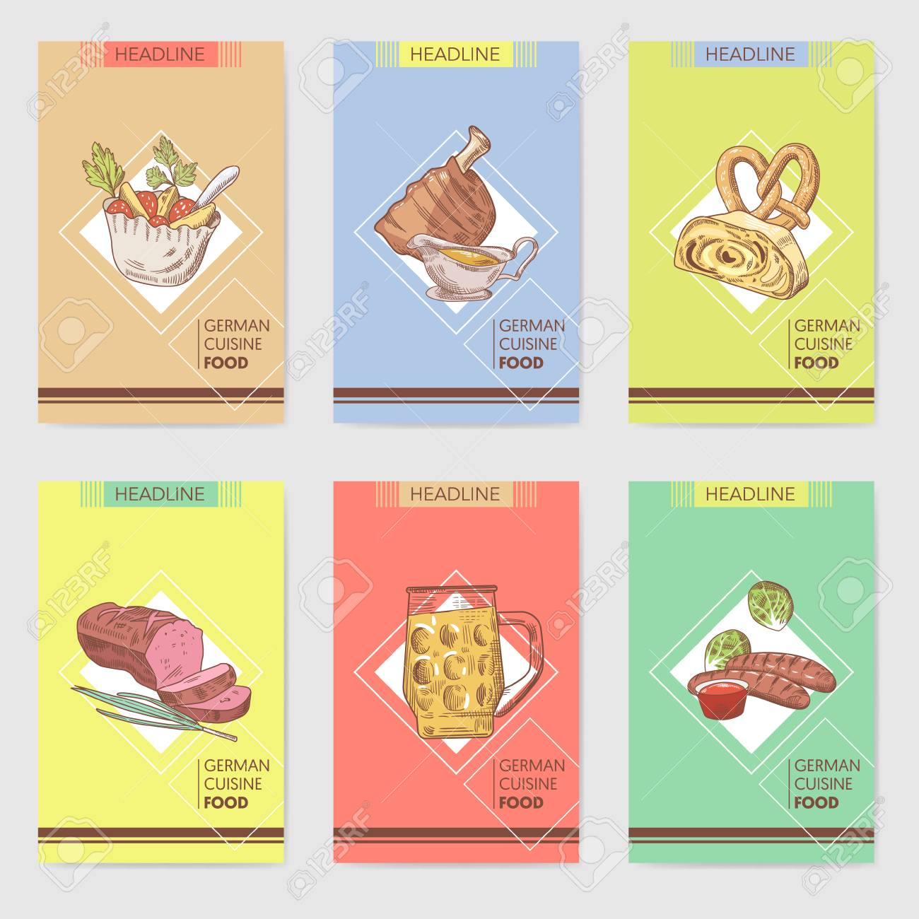 German Traditional Food Hand Drawn Brochure Templates Germany Cuisine Menu Cards And Drink