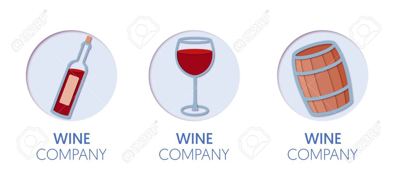 Paper Cut Out Logo Template Set With Wine Origami Winery Symbols