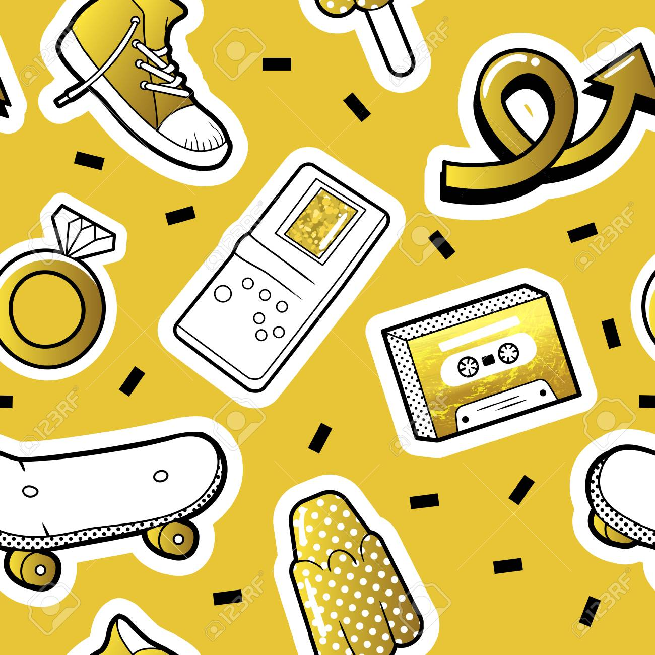 Fashionable Seamless Pattern in Pop Art Style with Golden Dotted
