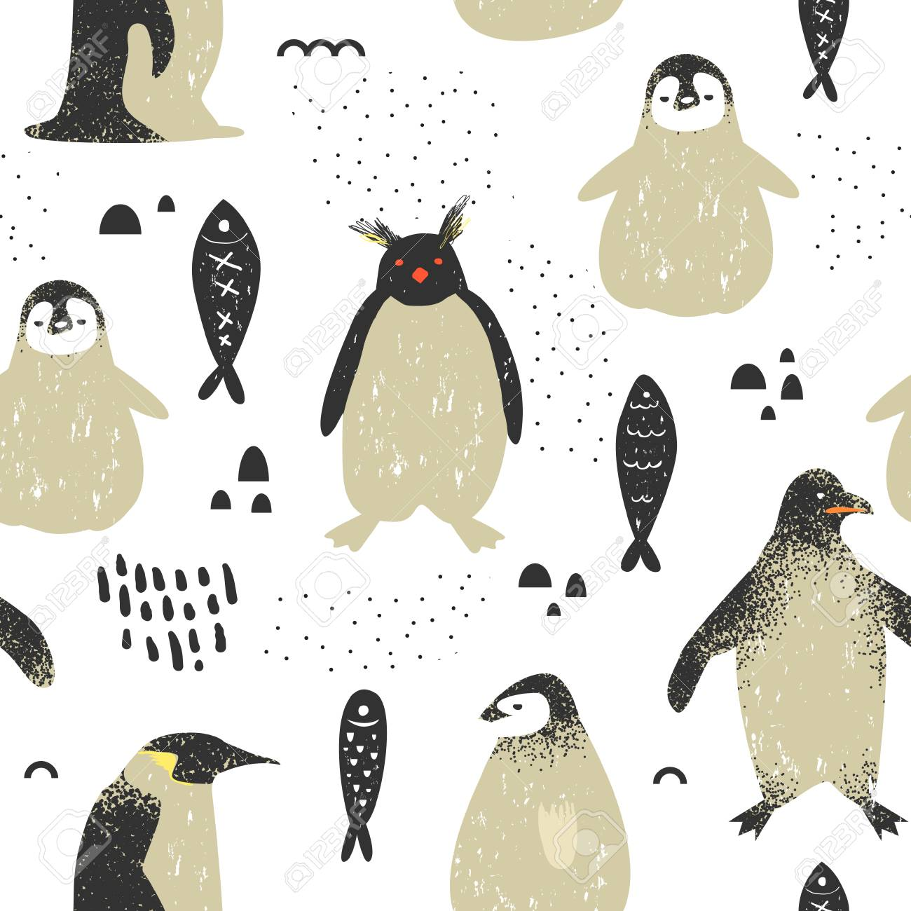かわいいペンギンとベビーシャワーシームレスパターン ファブリック
