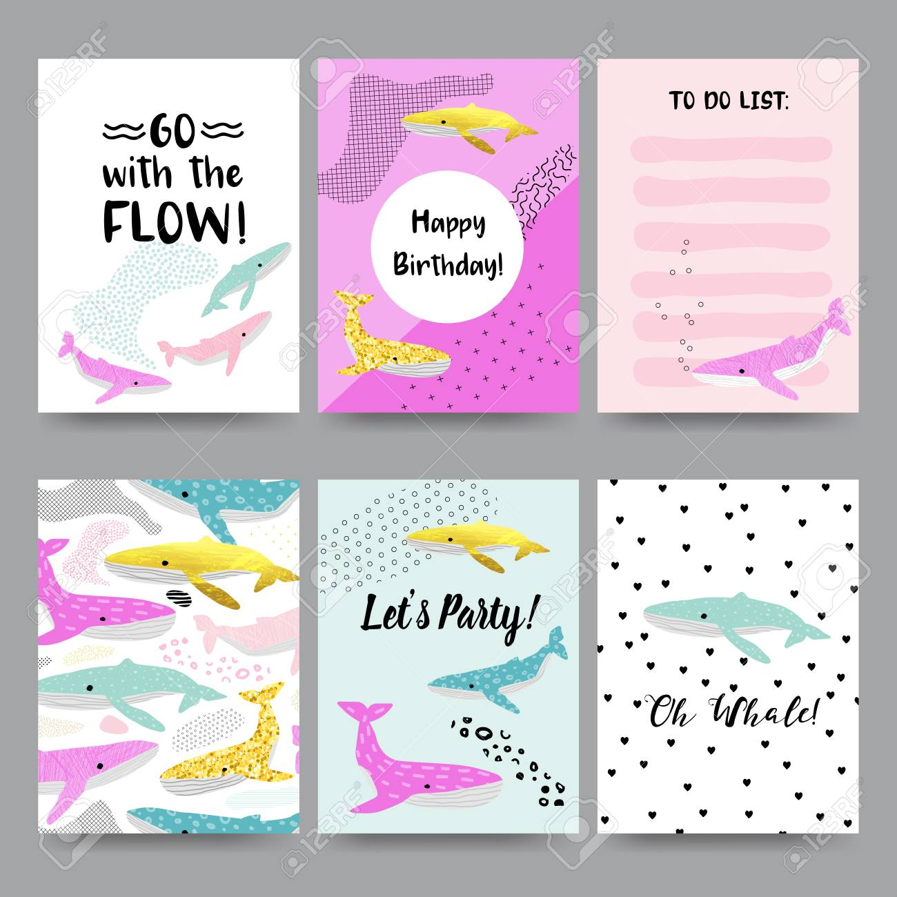 Cute Child Cards With Whales Happy Birthday Invitation Templates