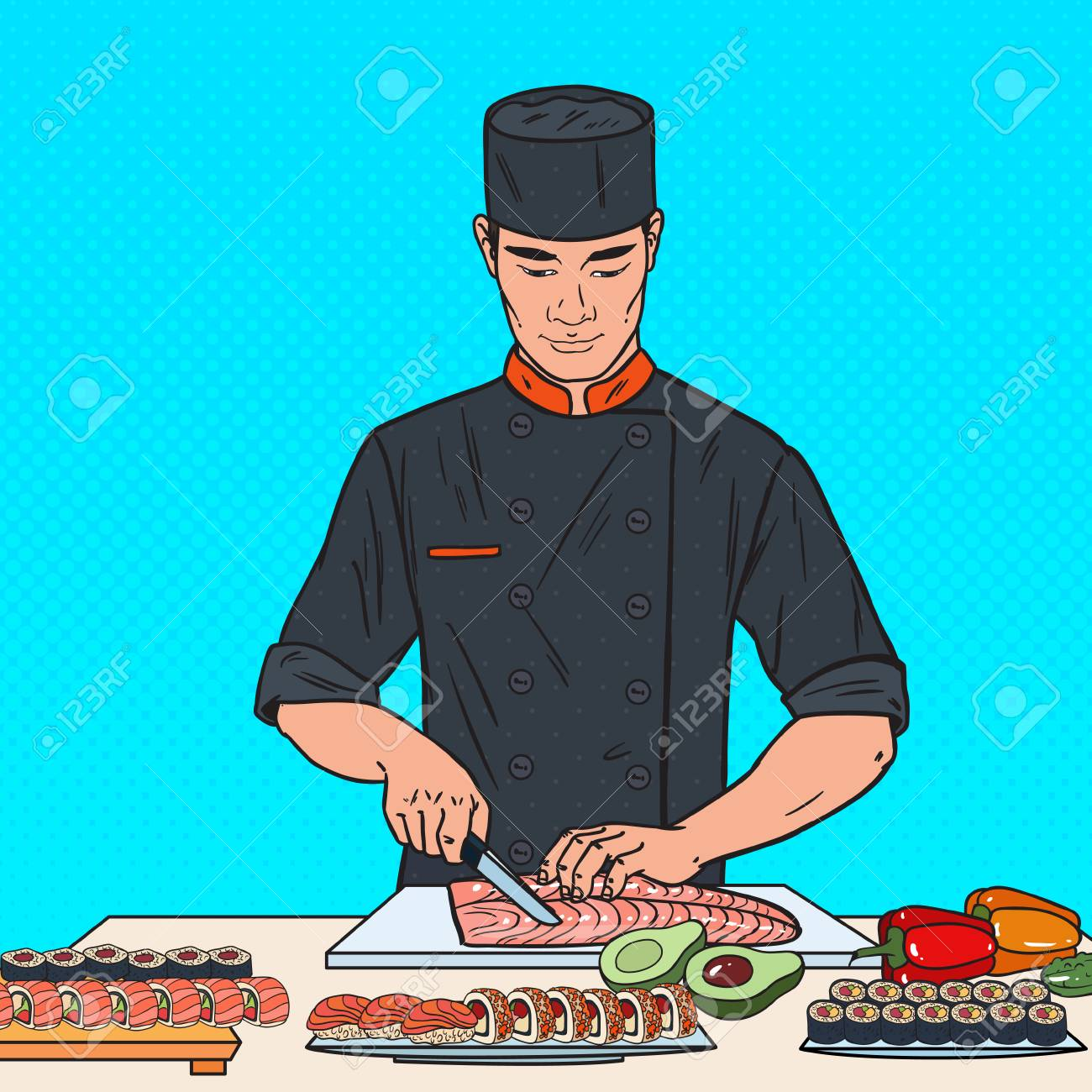 Pop Art Chef Preparing Sushi In Japanese Restaurant Vector Illustration Royalty Free Cliparts Vectors And Stock Illustration Image 98957070
