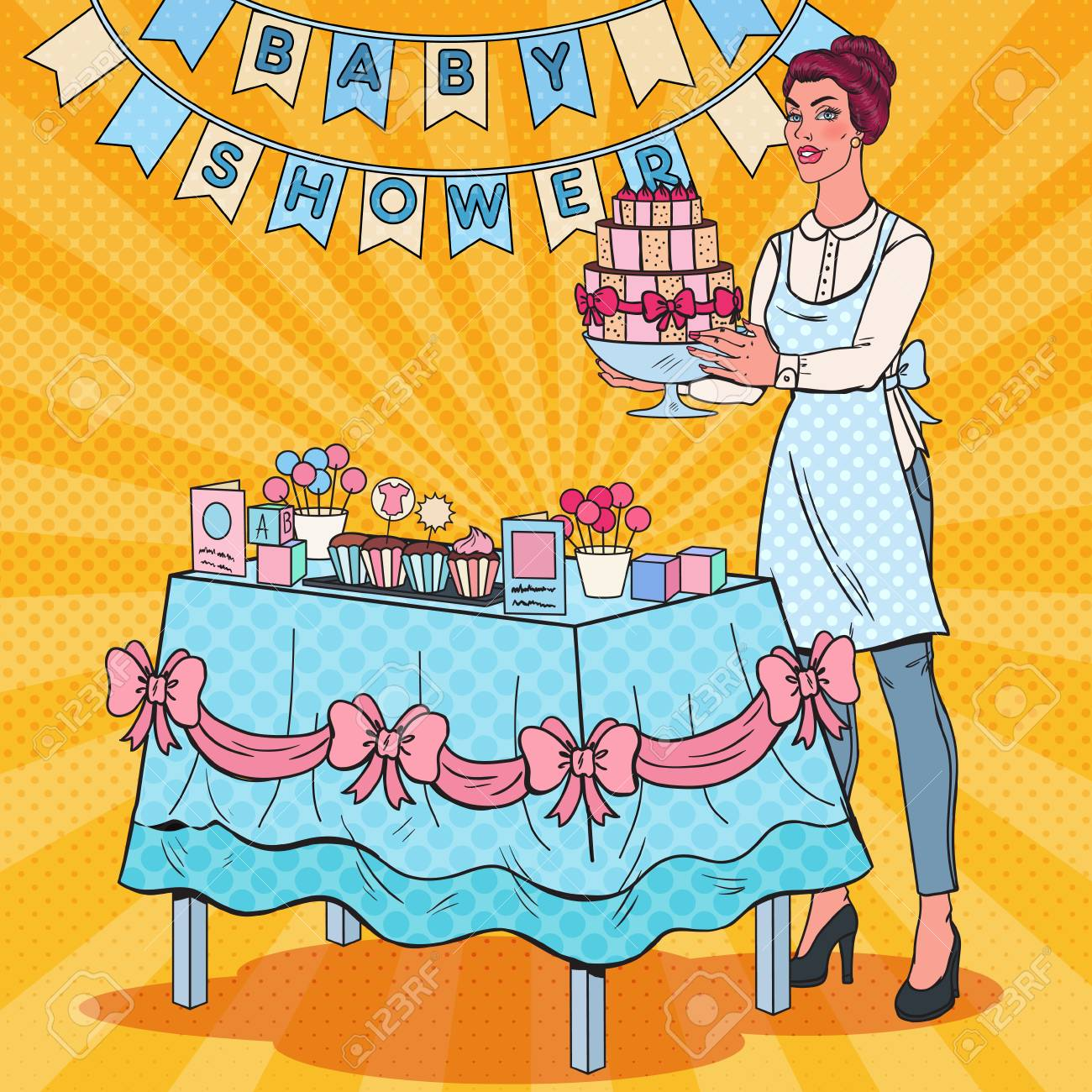 Pop Art Baby Shower Decorator With Party Decoration And Cake