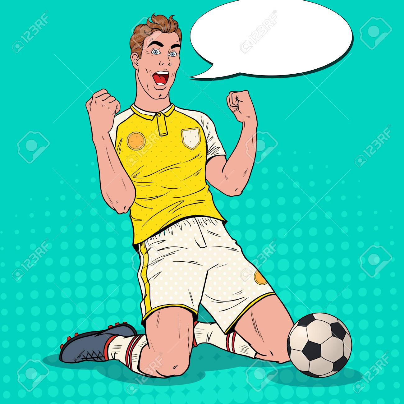 Pop Art Soccer Player Celebrating Goal. Happy Footballer, Sport Concept, World Cup. Vector illustration - 102980876