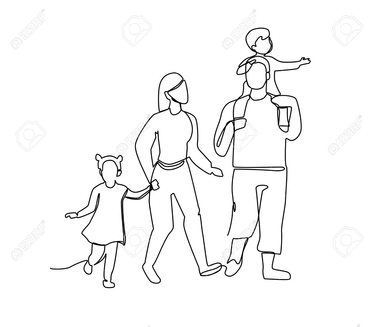 Continuous Line Parents Walking with Children. One Line Happy Family. Contour People Outdoor. Parenting Characters. - 105037413