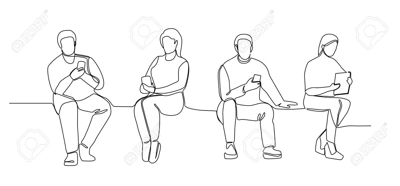 People with Gadgets Continuous Line Art. Man and Woman Using Smartphones One Line Silhouette. Mobile Technologies. - 105037409
