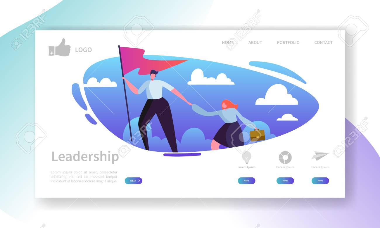 Website Development Landing Page Template. Mobile Application Layout with Flat Businessman Leader on the Top with Flag. Easy to Edit and Customize. Vector illustration - 108437677