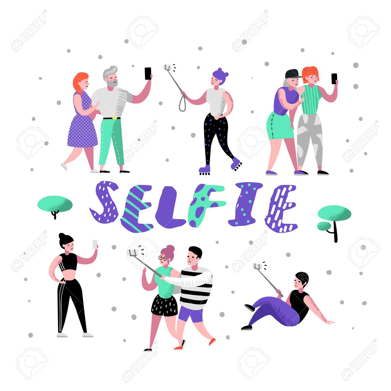 Young People Making Selfie with Smartphone. Flat Characters in Various Poses Taking Photo with Cellphone. Teenager with Mobile Device. Vector illustration - 110442580