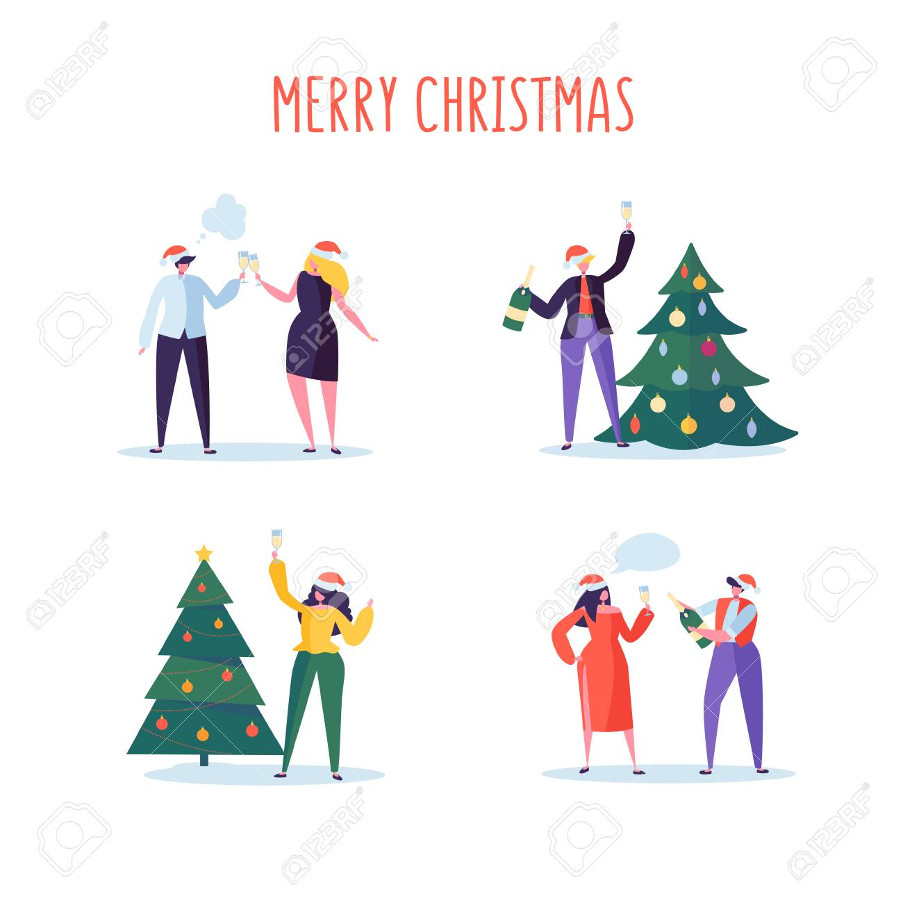 Business People Celebrating New Year 2019 Party Flat Characters