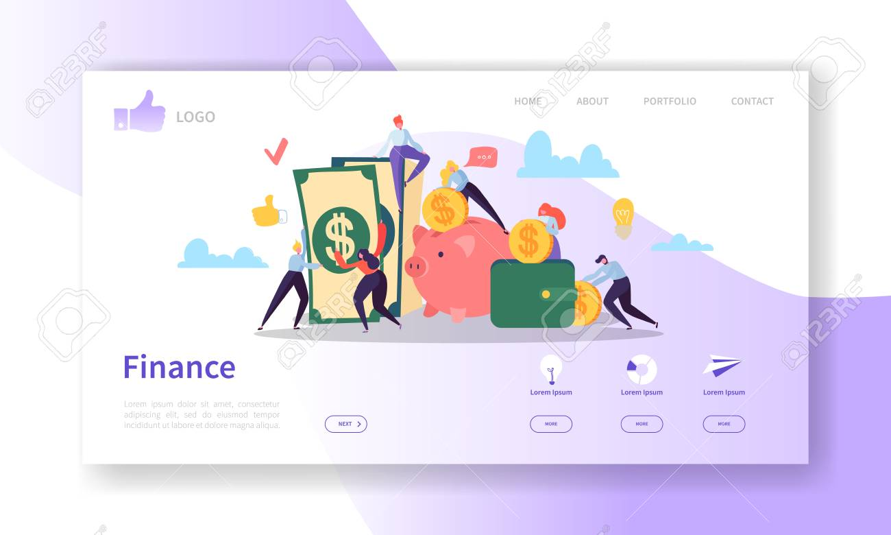 Business and Finance Landing Page Template. Website Layout with Flat People Characters Making Money. Easy to Edit and Customize Mobile Web Site. Vector illustration - 108437689