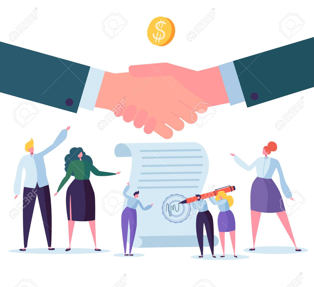 Handshake Business Agreement. Flat People Characters Signing Contract. Successful Partnership, Cooperation Concept. Vector illustration - 110153942