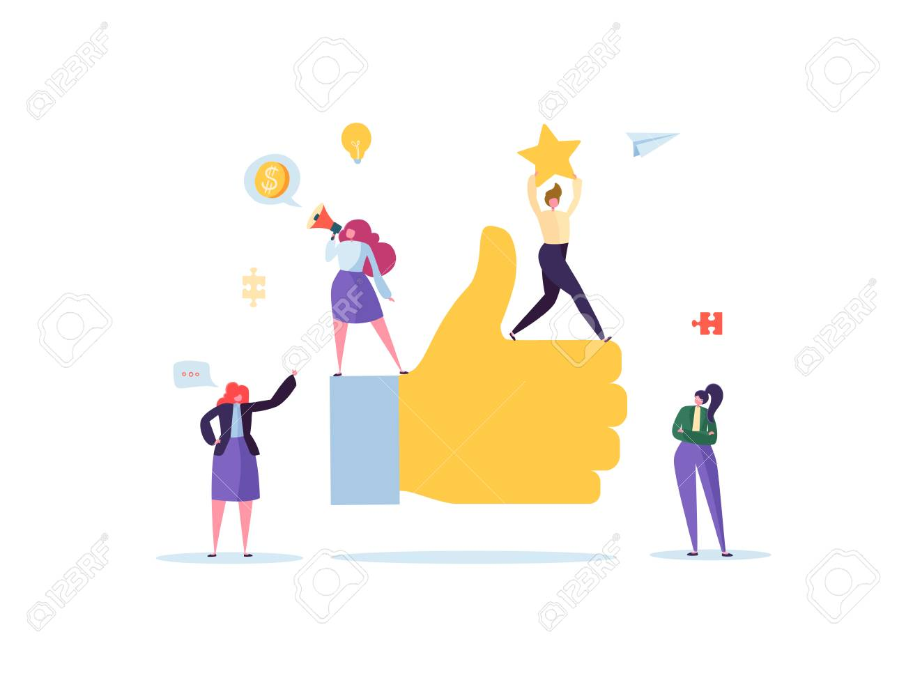 Big Hand with Thumb Up and Working Flat People Characters. Team Work Business Success Concept. Vector illustration - 109885139