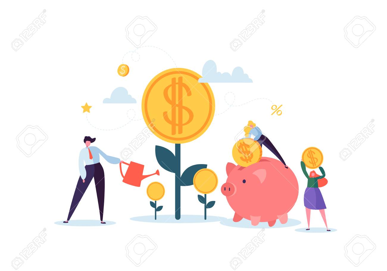 Investment Financial Concept. Business People Increasing Capital and Profits. Wealth and Savings with Characters. Earnings Money. Vector illustration - 109246704