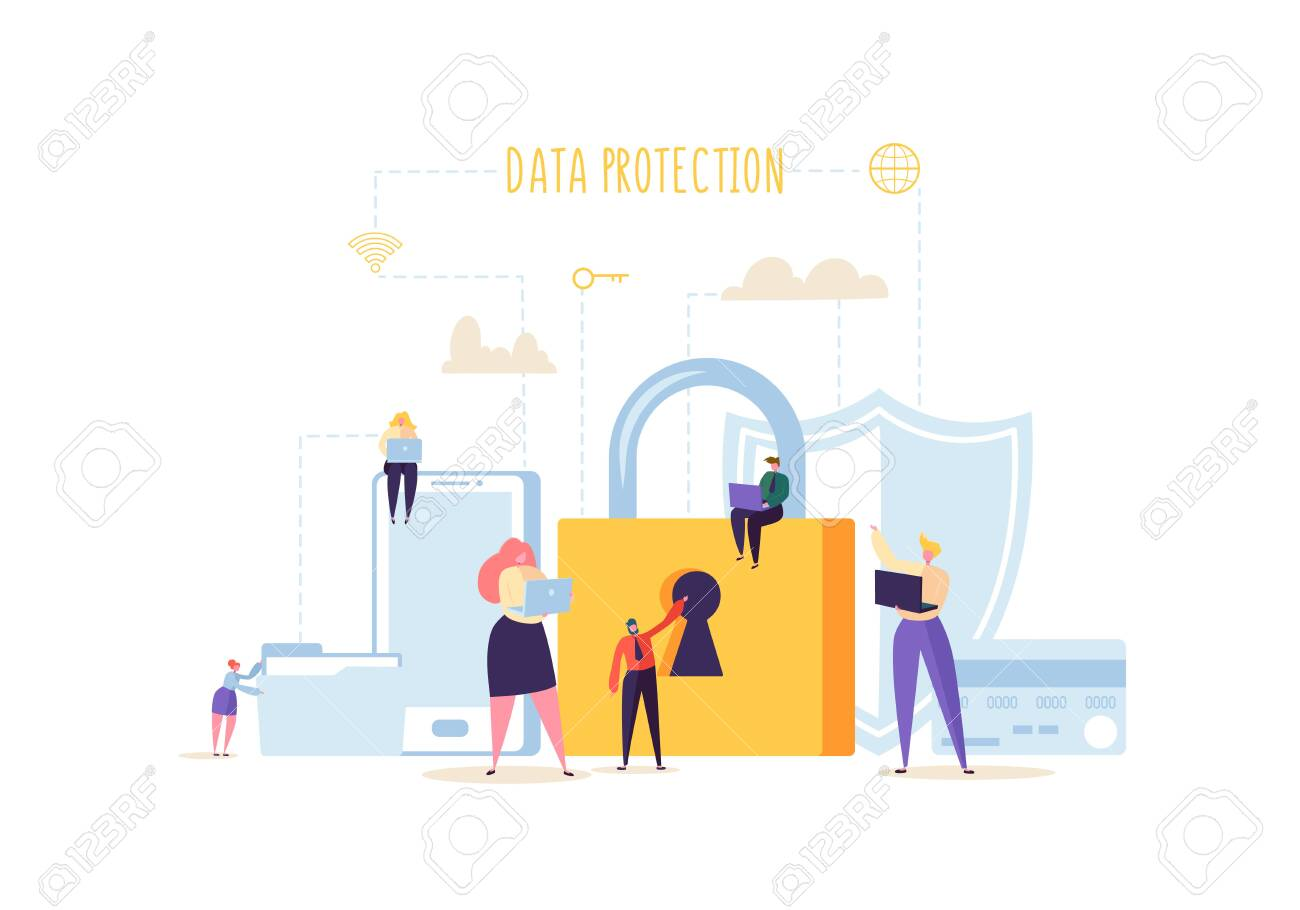 Data Protection Privacy Concept. Confidential and Safe Internet Technologies with Characters Using Computers and Mobile Gadgets. Network Security. Vector illustration - 123178635