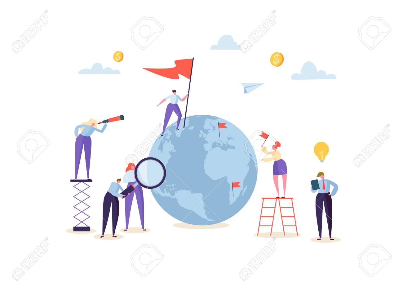 Global Business Concept with Characters Working Together with Globe. People Communicating in Work Process. Creative Teamwork Cooperation Worldwide Business. Vector illustration - 112489590