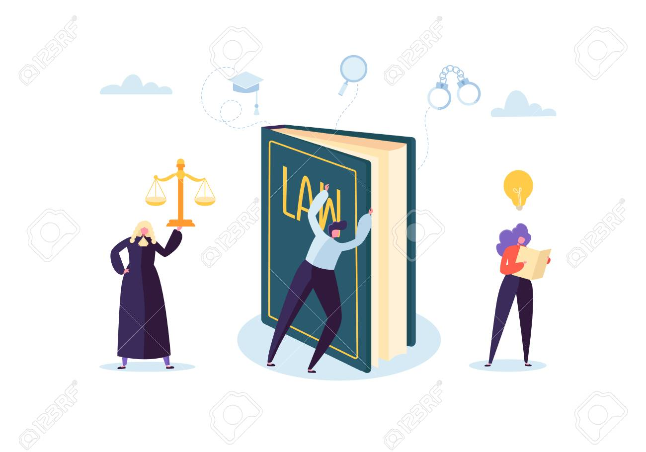 Law and Justice Concept with Characters and Judical Elements, Lawbook, Lawyer. Judgment and Court Jury People. Vector illustration - 123178738