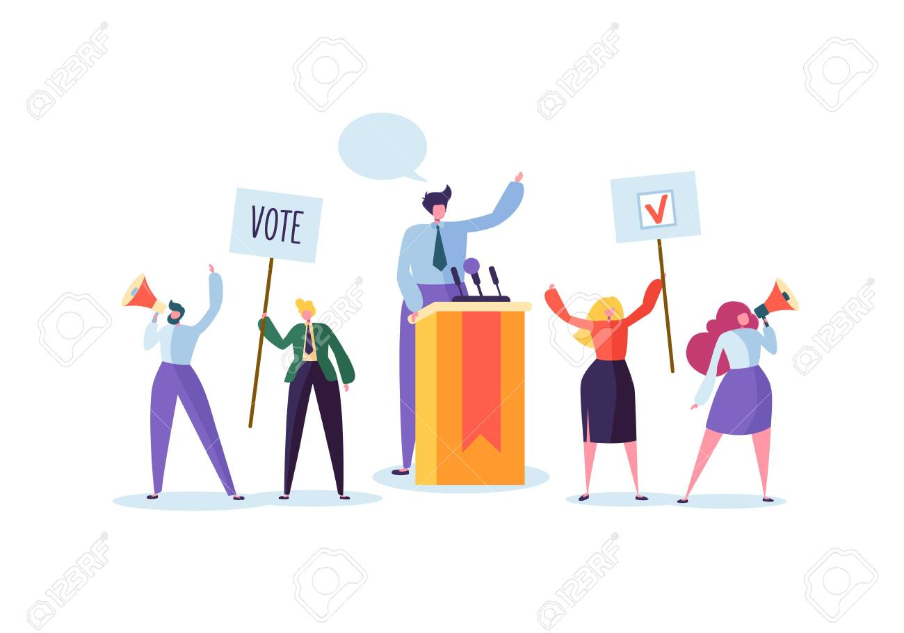 Political Meeting with Candidate in Speech. Election Campaign Voting with Characters Holding Vote Banners and Signs. Man and Woman Voters with Megaphone. Vector illustration - 123178748