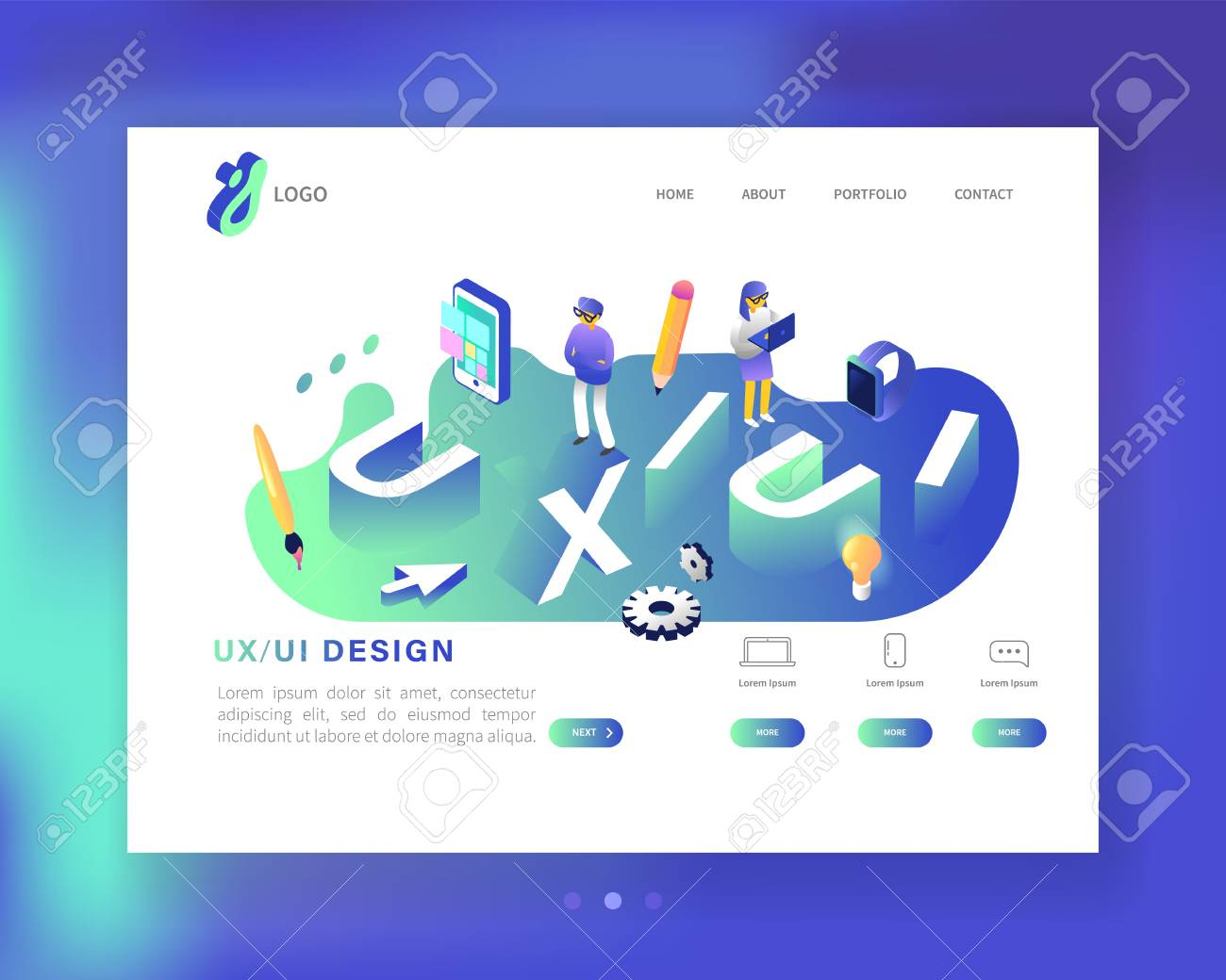 Ux And Ui Design Landing Page Template Mobile App And Website