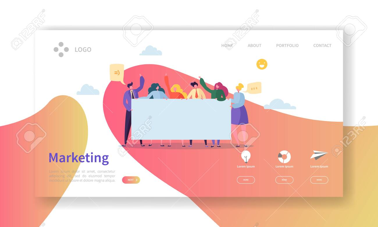 Marketing Team Landing Page. Team Work Concept with Flat Business People Characters Working Together Website Template. Easy Edit and Customize. Vector illustration - 123178785