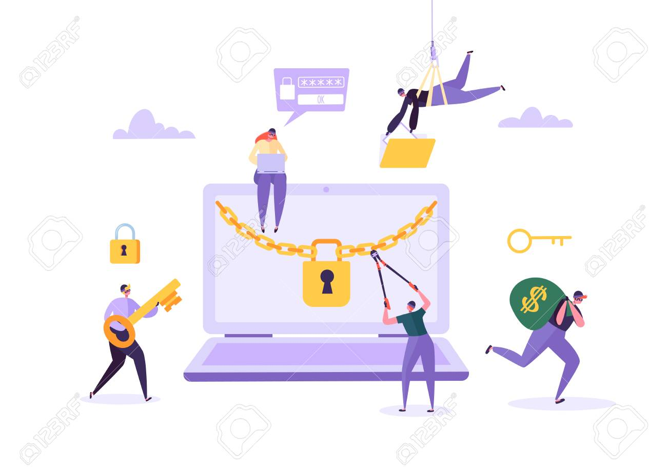 Hacker Stealing Password and Money from Laptop. Thief Characters Hacking Computer. Fishing Attack, Financial Fraud, Web Virus Concept. Vector illustration - 112489647