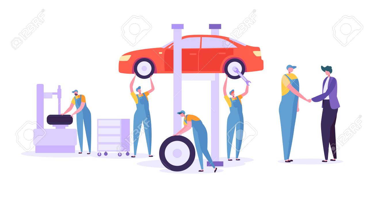 Car Repair Auto Service. Professional Mechanic Characters in Uniform Changing Tyres. Automobile technical maintenance concept. Vector illustration - 123178845
